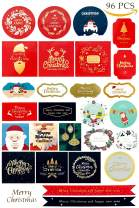 Christmas Gift Tags 96 Pcs, Merry Christmas Stickers Labels Envelope Decorative Stickers for Gifts