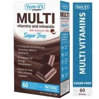 YumVs Complete Sugar-Free MultiVitamin Chewables w/ Coconut Milk, Milk Chocolate Flavor (60 Ct); Daily Dietary Supplement with Essential Vitamins & Minerals, Kosher/Halal, Gluten-Free