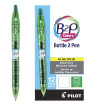 PILOT B2P Colors - Bottle to Pen Refillable & Retractable Rolling Ball Gel Pen Made From Recycled Bottles, Fine Point, Green G2 Ink/Barrel, 12-Pack (36627)