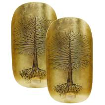 Decozen Wall Art T Light Holder with Tree of Life Design A Symbol of Growth and Strength in Gold Color Handcrafted by Skilled Artisans Wall Décor Accents for Living Room Hallway Family Room Set of 2