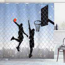 """Lunarable Sports Shower Curtain, Basketball in The Street Theme 2 Players on Grungy Damaged Backdrop, Cloth Fabric Bathroom Decor Set with Hooks, 75"""" Long, Blue Grey"""