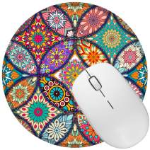 Portable Non Slip Rubber Mouse Pad Beautiful Pattern Desktop 7.9in X7.9in Small Size Computer PC Round Mouse Mat (Colorful Mandala-N)