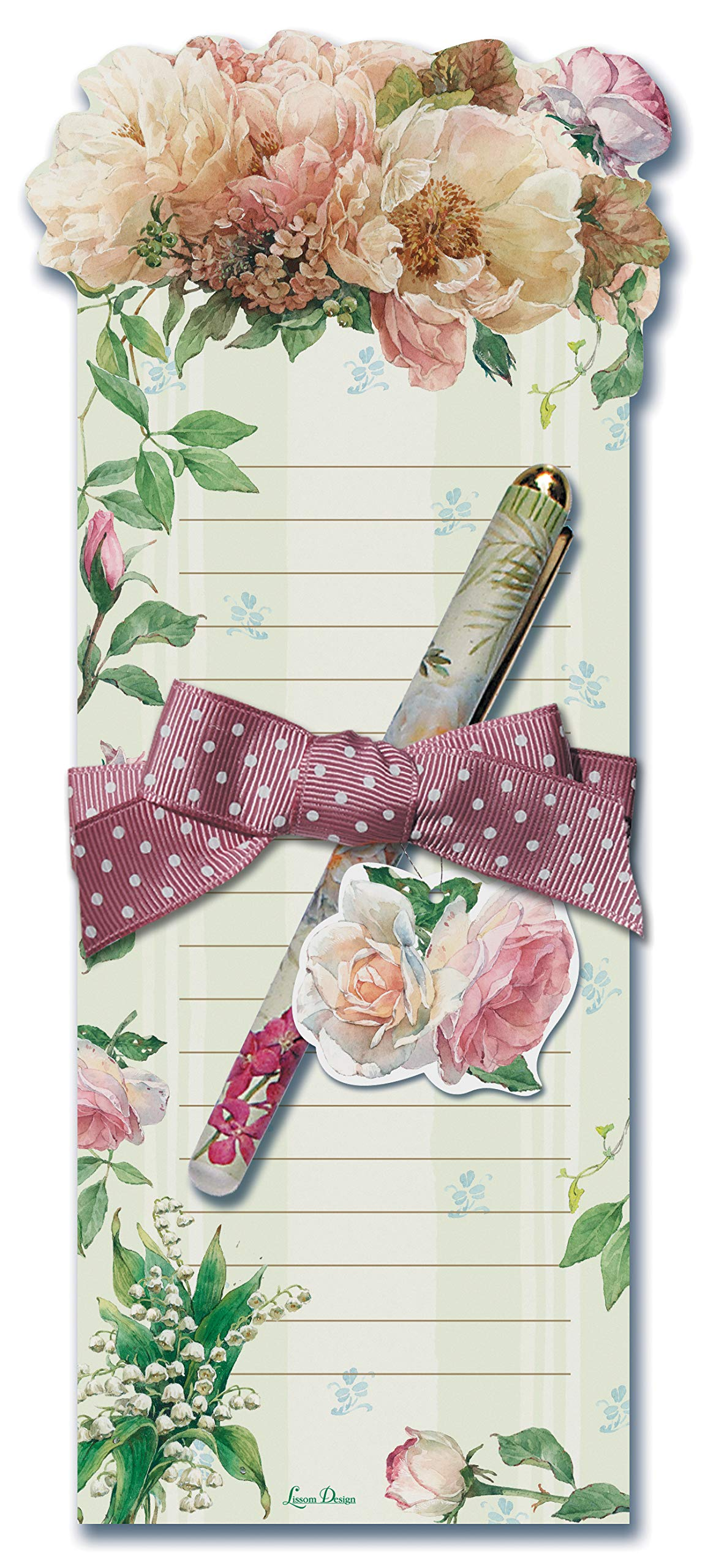 Lissom Design Die-Cut Magnetic List Pad, 8.75 x 3.75-Inches, Cottage in Bloom