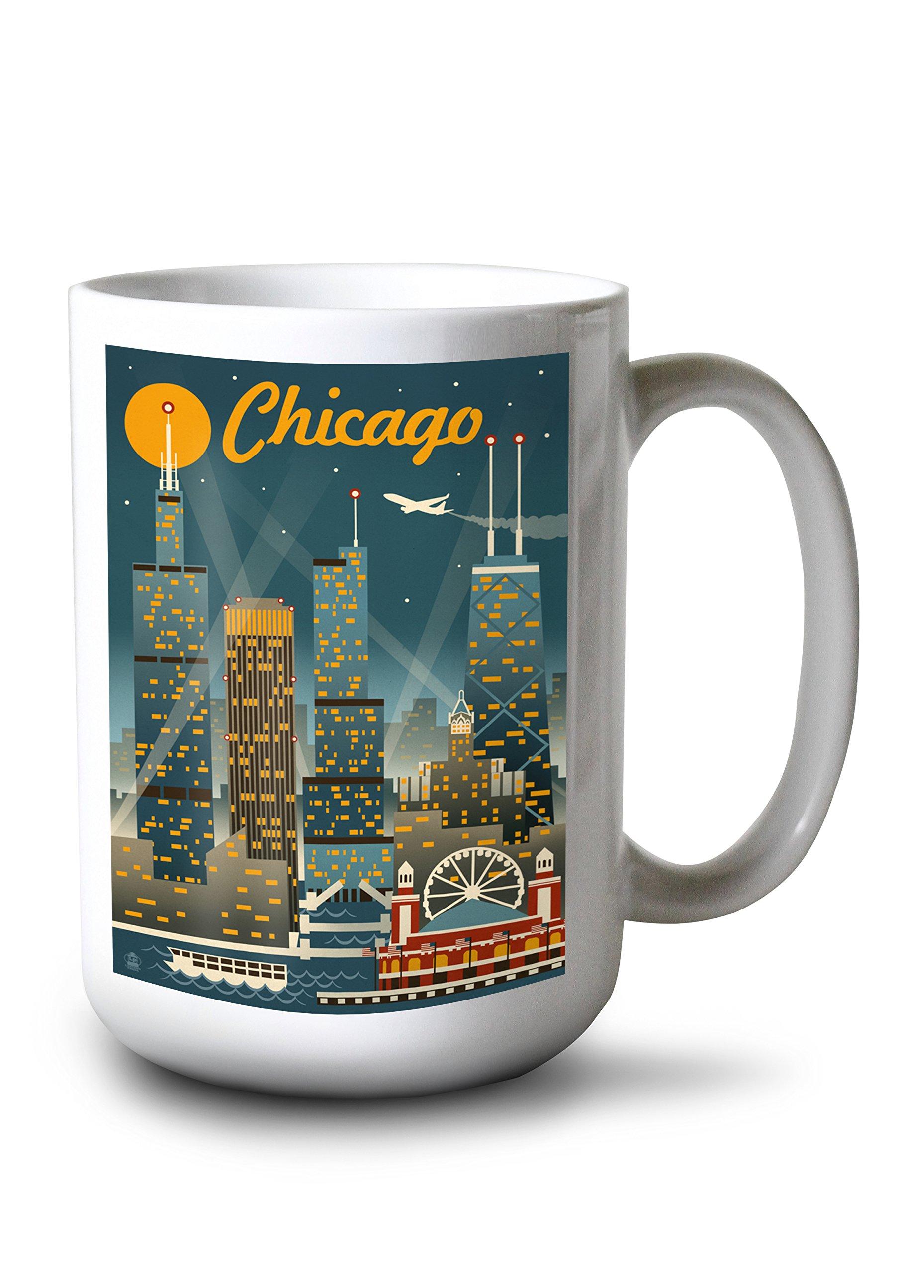 Lantern Press Chicago, Illinois - Retro Skyline (15oz White Ceramic Mug)
