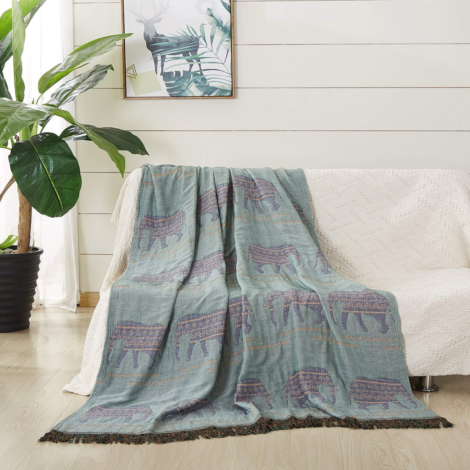 """JML Throw Blanket Soft Jacquard Organic Bamboo Cotton Throw Blanket with Tassels Couch Blanket and Throw Shawls and Wraps Cotton Blankets for Bed Sofa Chair Travel Lap Adult,50"""" X 60""""-Elephant Green"""