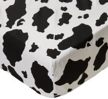 SheetWorld Fitted Sheet (Fits BabyBjorn Travel Crib Light) - Black Cow - Made In USA