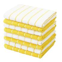 Gryeer Microfiber Dish Cloths, Stripe Designed, Soft and Super Absorbent Kitchen Cleaning Cloths, Pack of 8, 12 x 12 Inch, Yellow and White