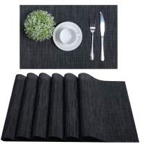 U'Artlines Placemats Vinyl Woven for Dining Table Heat Insulation Stain Resistant Washable PVC Kitchen Table Mats(Black, 6pcs)