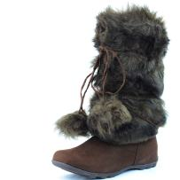 DailyShoes Women's Warmer-02 Mukluk Boots Faux Fur Round Toe Ankle High Winter Bootie