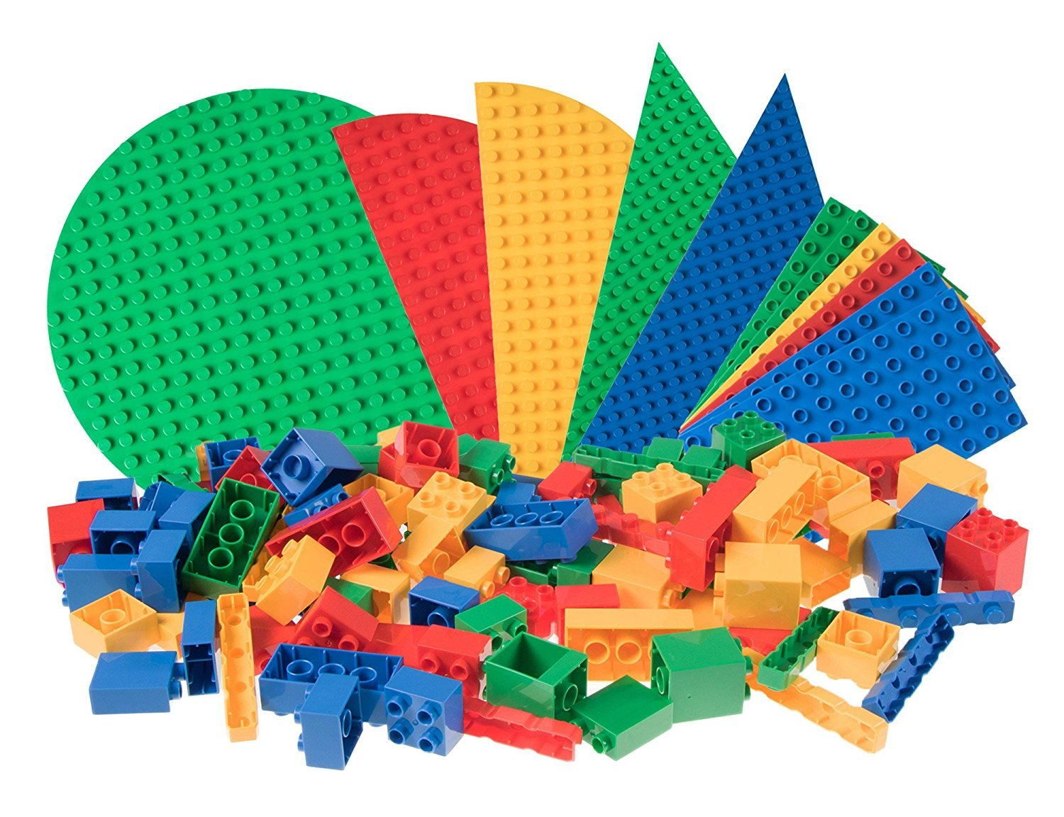 Classic Big Briks Baseplates by Strictly Bricks   119 Brick and Baseplate Pack   100% Compatible with All Major Large Brick Brands   Large Pegs   Blue, Green, Red, and Yellow