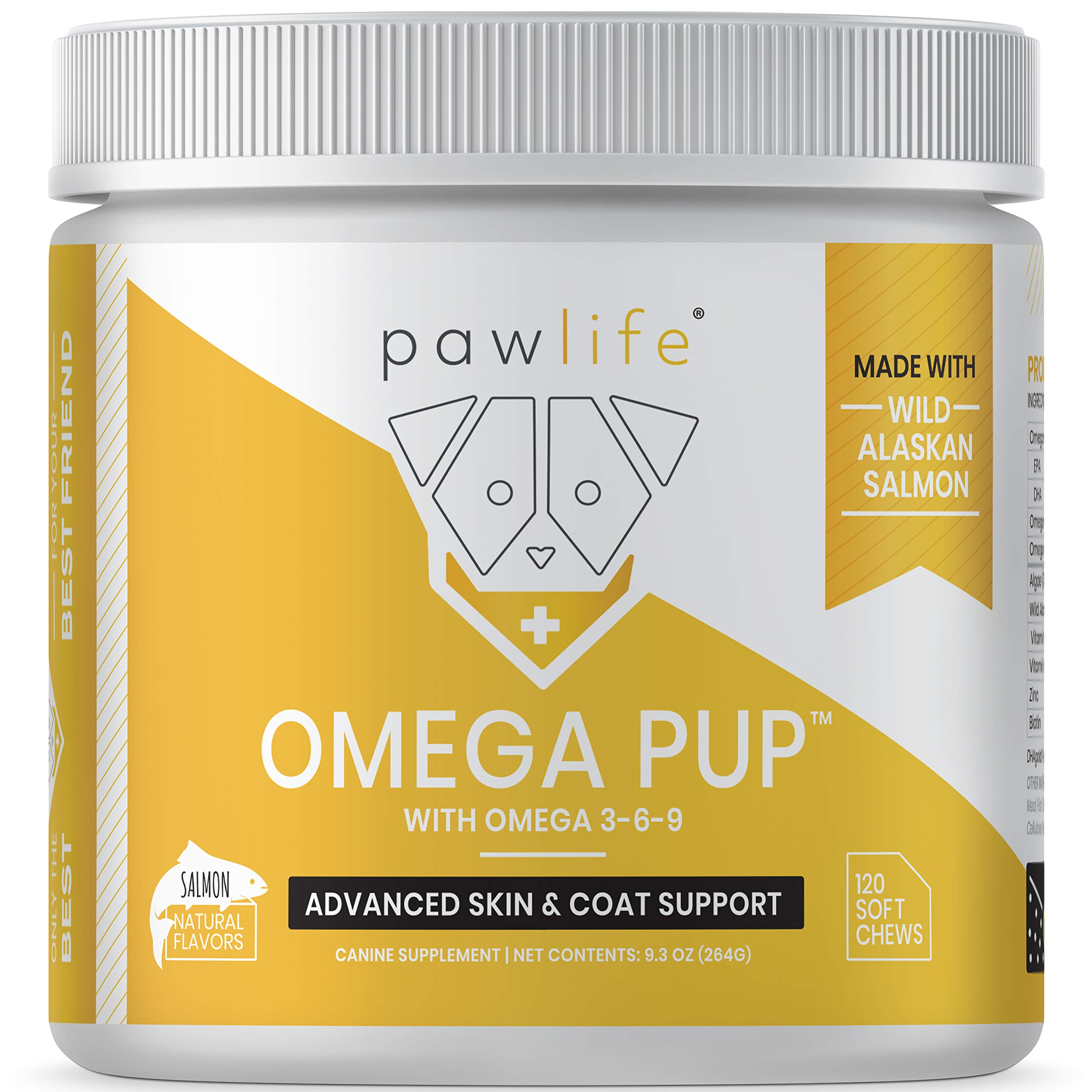 pawlife Omega Pup, Salmon Fish Oil Supplement for Dogs, 120 Salmon Soft Chews