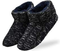 ONCAI Men's Slippers Handmade Woolen Yarn Indoor Slipper Boots Sherpa Lined