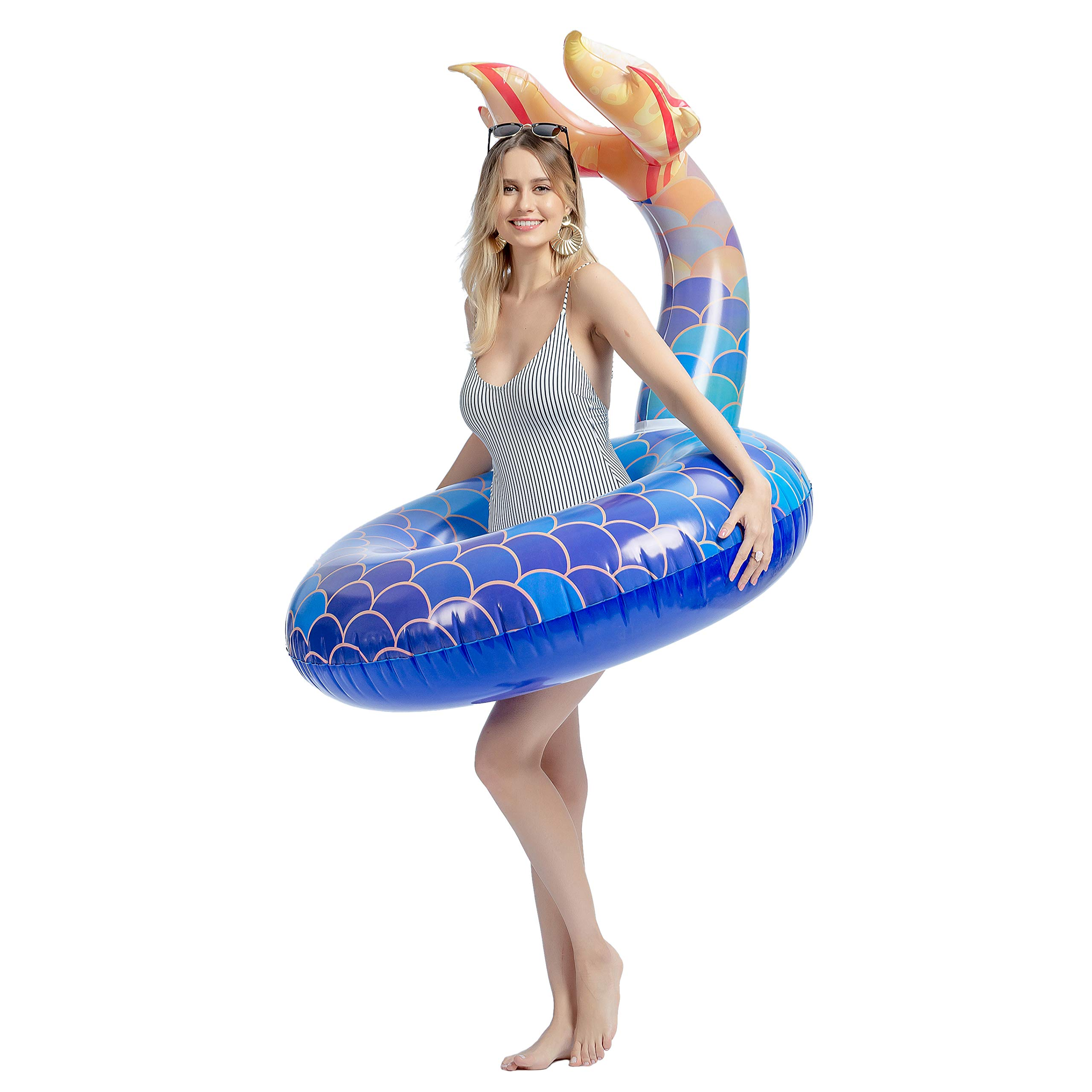 """JOYIN Inflatable Mermaid Tail Pool Float, 39"""" Pool Tubes Lounge Raft Toys for Summer Beach Swimming Pool Party Decorations"""