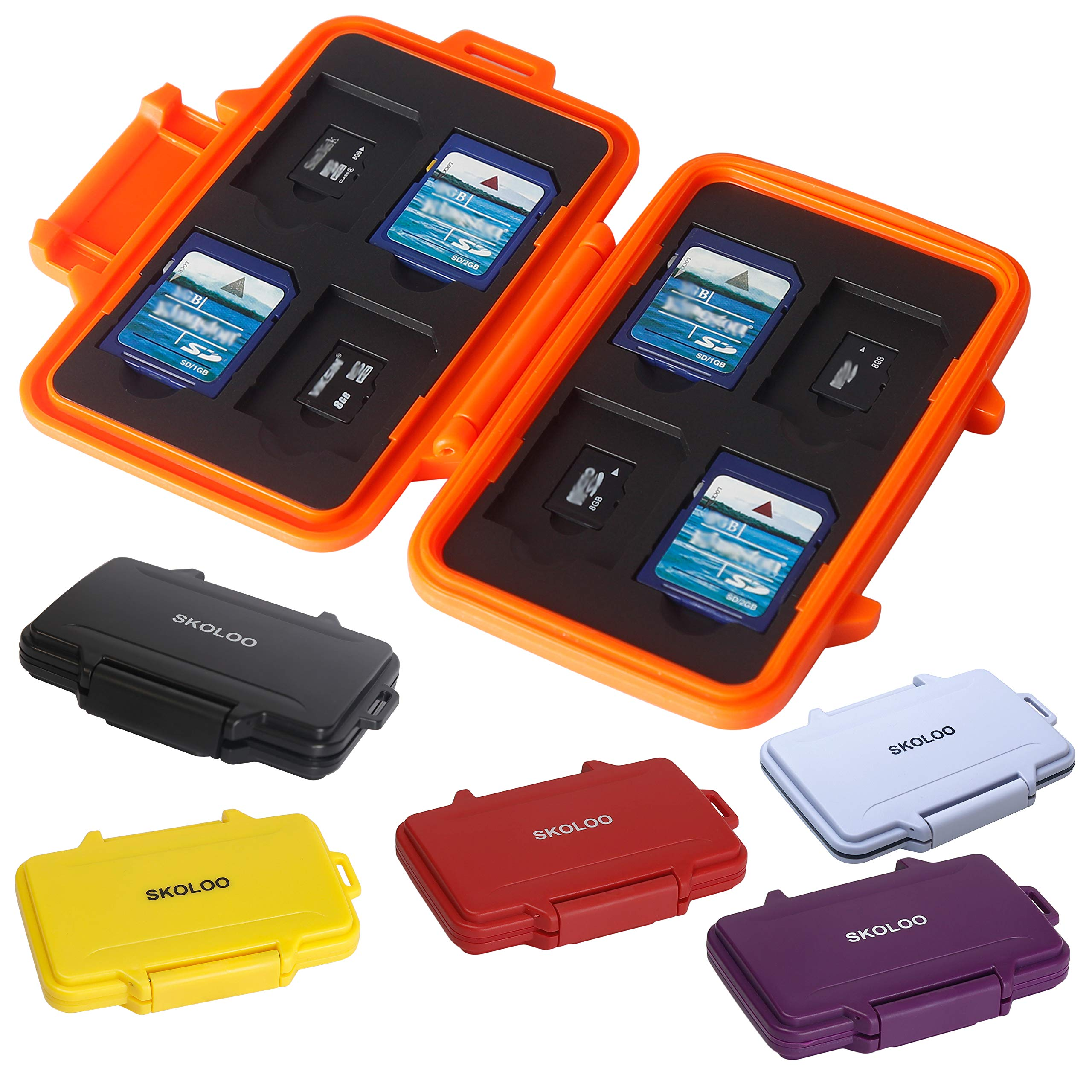 SD Card Holder Case Hunter, SKOLOO Weatherproof Micro SD Card Case Small Cute, SD Card Storage Container, Multi-Color
