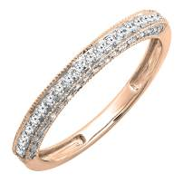 Dazzlingrock Collection 0.40 Carat (ctw) Round Diamond Ladies Wedding Enhancer Guard Band, 14K Gold