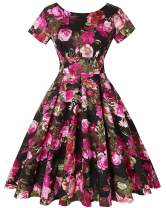 MINTLIMIT Womens Dresses Short Sleeve Party Dresses 1950s Vintage Dresses Swing Dress (Floral Fuchsia,Size M)