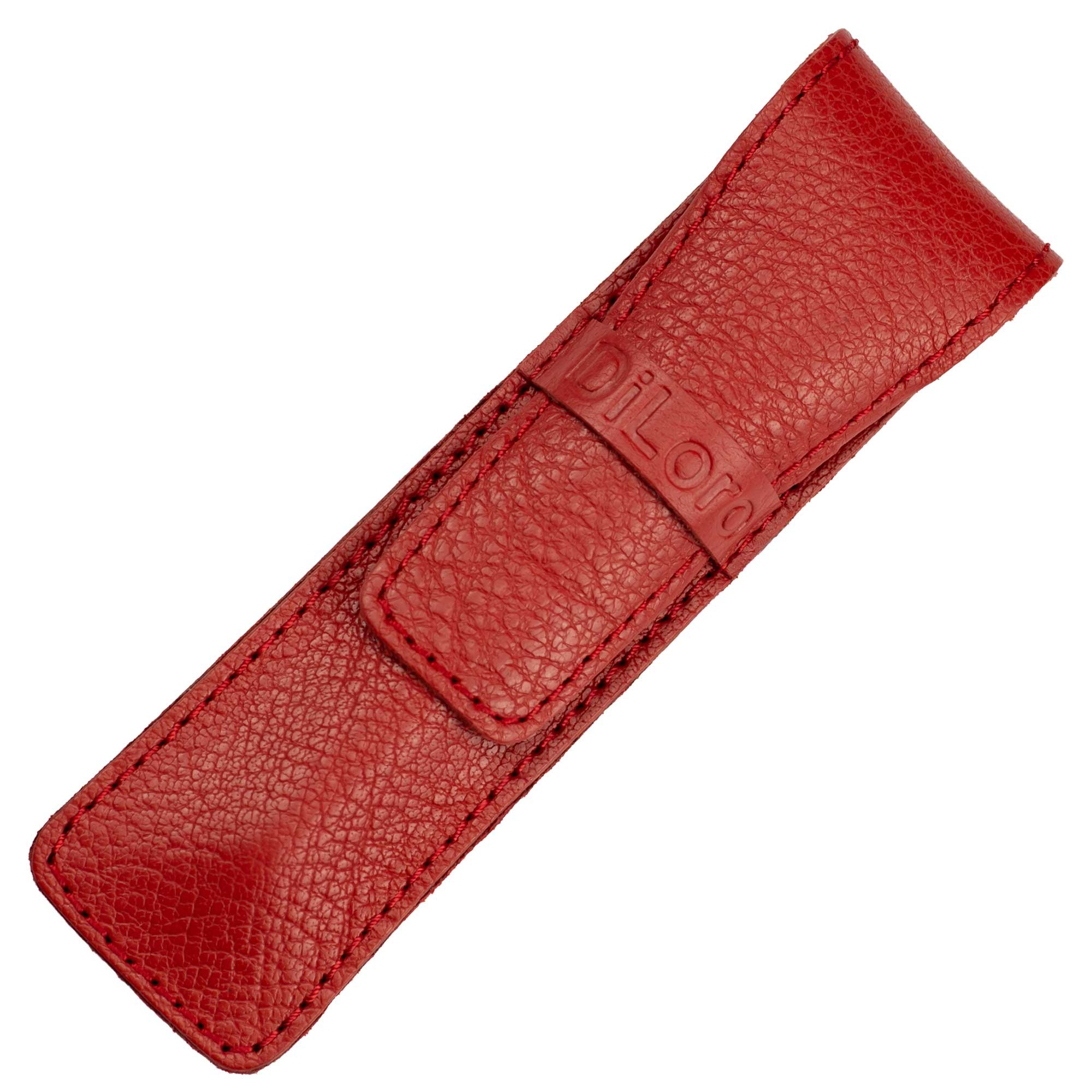DiLoro Full Grain Top Quality Thick Buffalo Leather Single Pen Case Holder Buffalo Red