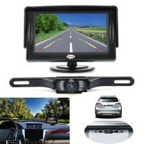 Backup Camera and Monitor Kit for Car, GerTong Universal Waterproof Rear View License Plate Car Backup Camera with 4.3 Inches LCD Monitor