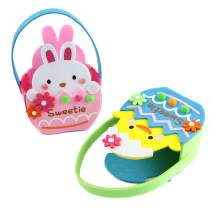 Bstaofy Easter Decorations Bunny Chick Bag Set of Two Spring Party Ornaments Candy Treat Basket Pack for Kids Egg Hunt Seasonal Ornaments Gift for Toddlers