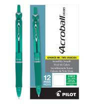PILOT Acroball Colors Advanced Ink Refillable & Retractable Ball Point Pens, Medium Point, Green Ink, 12 Count (31813)