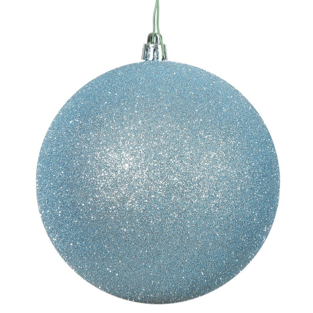 """Vickerman N592532DG Glitter Ball Ornament with Shatterproof UV Resistant, Pre-drilled cap Secured & 6"""" of Green Floral Wire, 10"""", Baby Blue"""