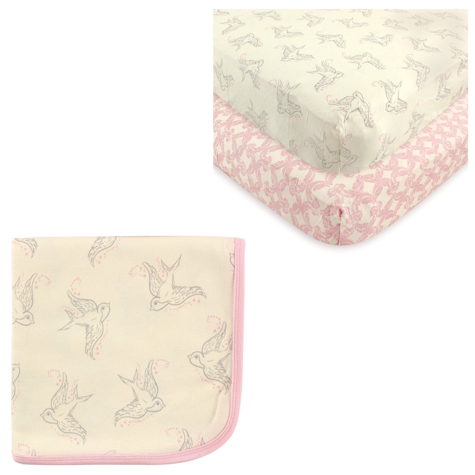Organic Cotton Fitted Crib Sheet 2-Pack & Cotton Swaddle Blanket