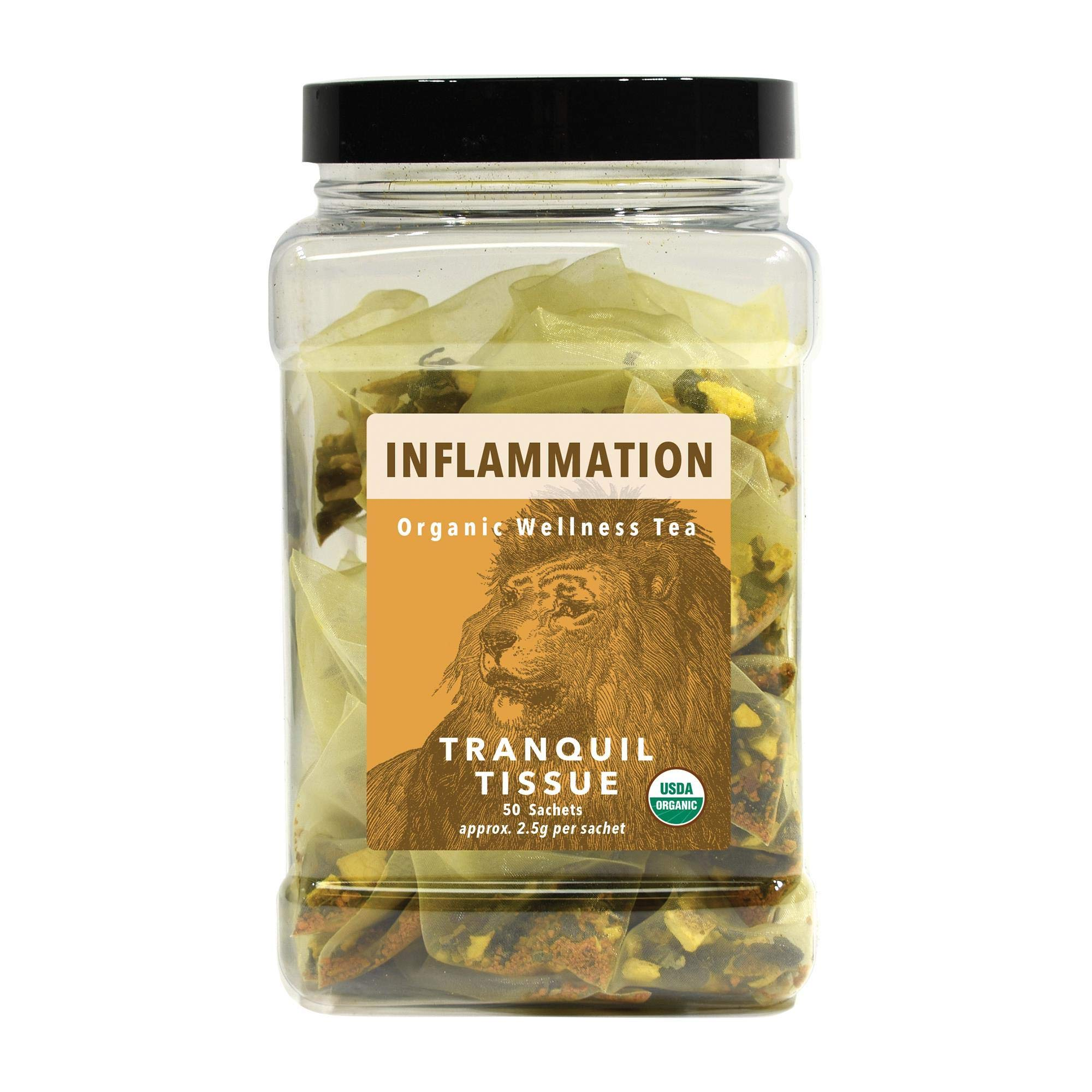 White Lion Inflammation (Tranquil Tissue) Wellness Tea   100% USDA Certified Organic   Antioxidant-Rich in Turmeric, Black Pepper, & Cacao Nibs   50 Count Canister