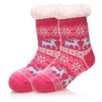 Kids Boy Girl Soft Thick Warm Slipper Socks Winter Fleece Fuzzy Non-Skid Children Home Socks