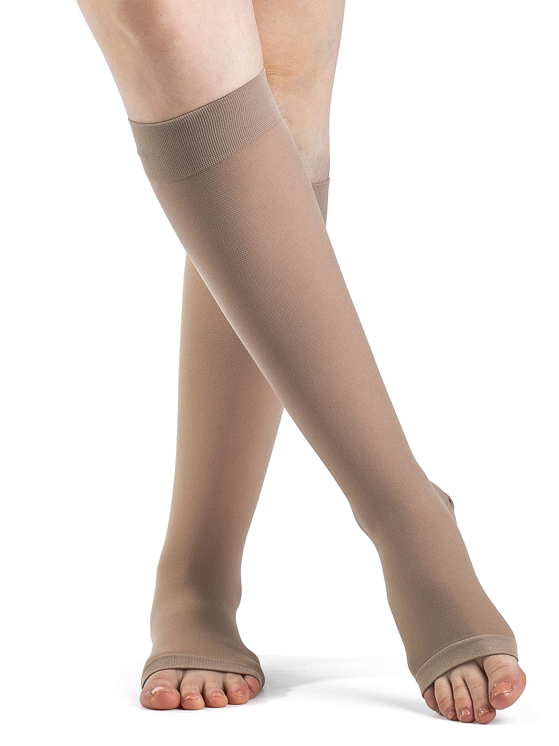 SIGVARIS Women's DYNAVEN Open Toe Calf-High Socks 15-20mmHg