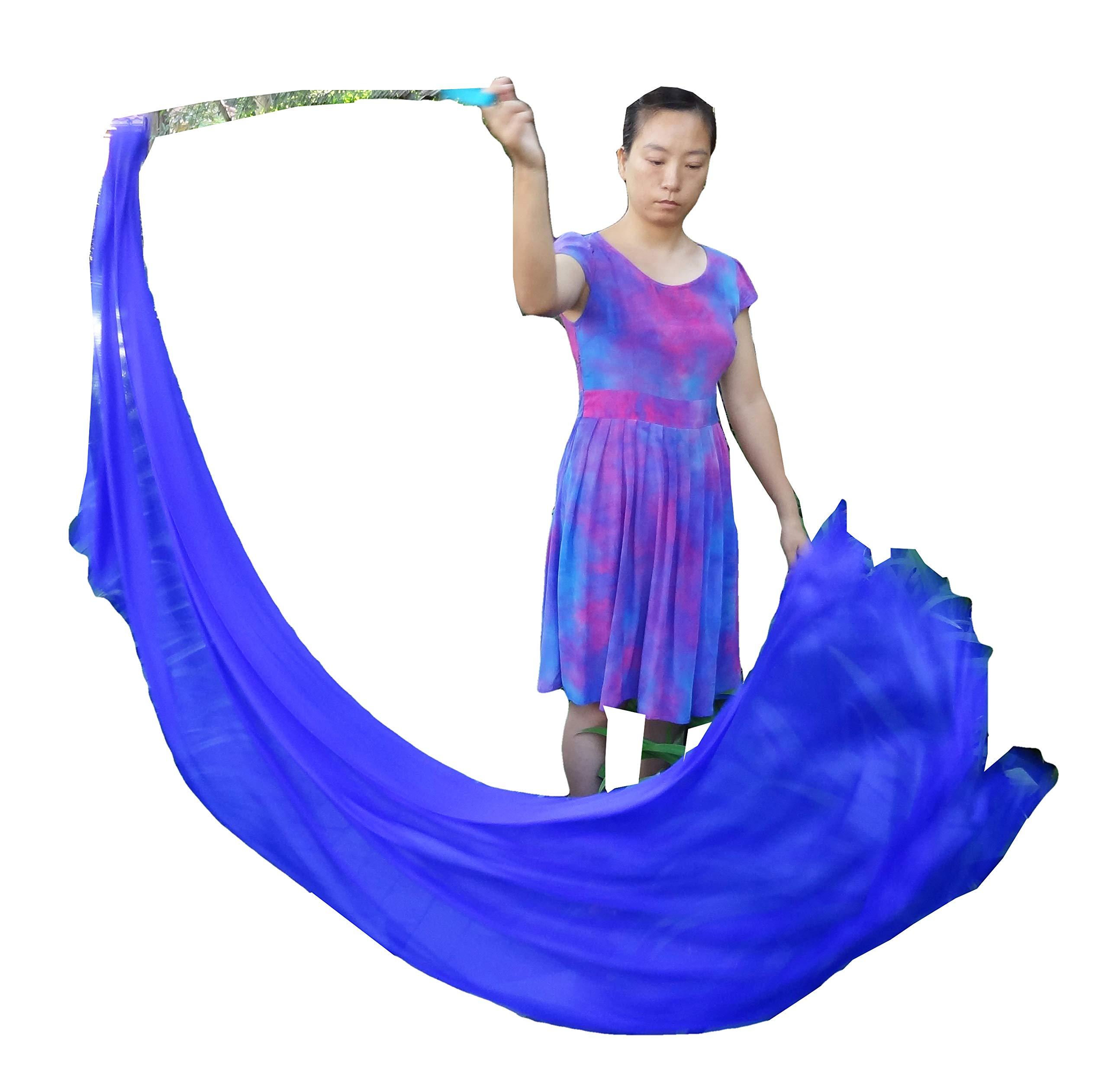 Winged Sirenny 2.3m Flowy Spinning Silk Veil Poi Playsilk, Practice Tail Flag Scarf Poi Streamer