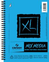 "Canson XL Series Mix Paper Pad, Heavyweight, Fine Texture, Heavy Sizing for Wet or Dry Media, Side Wire Bound, 98 Pound, 5.5 x 8.5 in, 60 Sheets, 5.5""X8.5"""