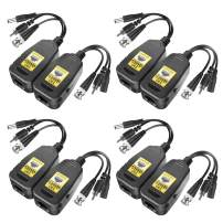 4 Pairs Passive Video Power Balun Audio Connector BNC to RJ45 Network Transceiver Cat5e/Cat6 Adapter AHD/TVI/CVI/CVBS for Full HD Security Surveillance Camera System, Max 8MP 720P/960P/2MP/3MP/4MP/5MP