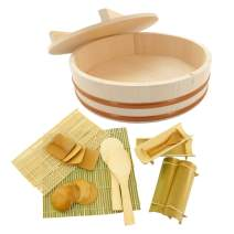 """BambooMN 13"""" Hangiri Sushi Oke Rice Mixing Tub with Lid, 19 Pieces Making Serving Accessory Kit"""