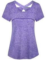 Kimmery Woman Short Sleeve Round Neck Criss Cross Back Yoga Shirt