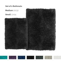 Nestl Bedding Set of 2 Shaggy Rug with Non-Slip Rubber Backing – Machine Washable Super Soft Microfiber Rug – Plush Absorbent Bath Rug - Small and Medium - Black