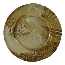 """10 Strawberry Street Cyclone 13"""" Glass Charger Plate, Set of 4, Beige/Gold"""