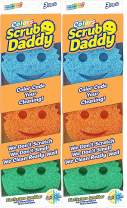Scrub Daddy Colors - FlexTexture Sponge, Color Code Cleaning, Soft in Warm Water, Firm in Cold, Deep Cleaning, Dishwasher Safe, Multi-use, Scratch Free, Odor Resistant, Ergonomic- 3ct (Pack of 2)