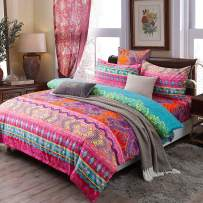 """CCoutueChen Bohemian Duvet Cover Set King Boho Tribal Rose Red Teal Pattern Comforter Covers Exotic Mandala Bedding Soft Hypoallergenic Microfiber Poly-Cotton Quilt Cover (3pcs, 104""""x90"""")"""
