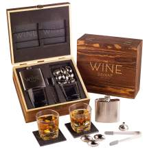 Whiskey Glasses And Football Chilling Stones Gift Set, 1 Whiskey Flask, 2 Whiskey Glasses, 8 Stainless Steel Whiskey Footballs, 2 Slate Stone Coasters, Special Tongs & Freezer Pouch in Pinewood Box