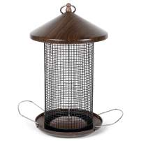 Cottage Garden Hanging 12 inch Cherry Woodgrain Finish Heavy Duty Mesh Metal 3 Lb. Bird Feeder