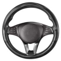 COFIT Non Slip Steering Wheel Cover Microfiber Leather with Carbon Fiber Pattern Medium Size 14 1/2-15 Inch Black