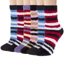 6 Pairs Womens Cozy Soft Fuzzy Socks - Fluffy Crew Slipper Socks