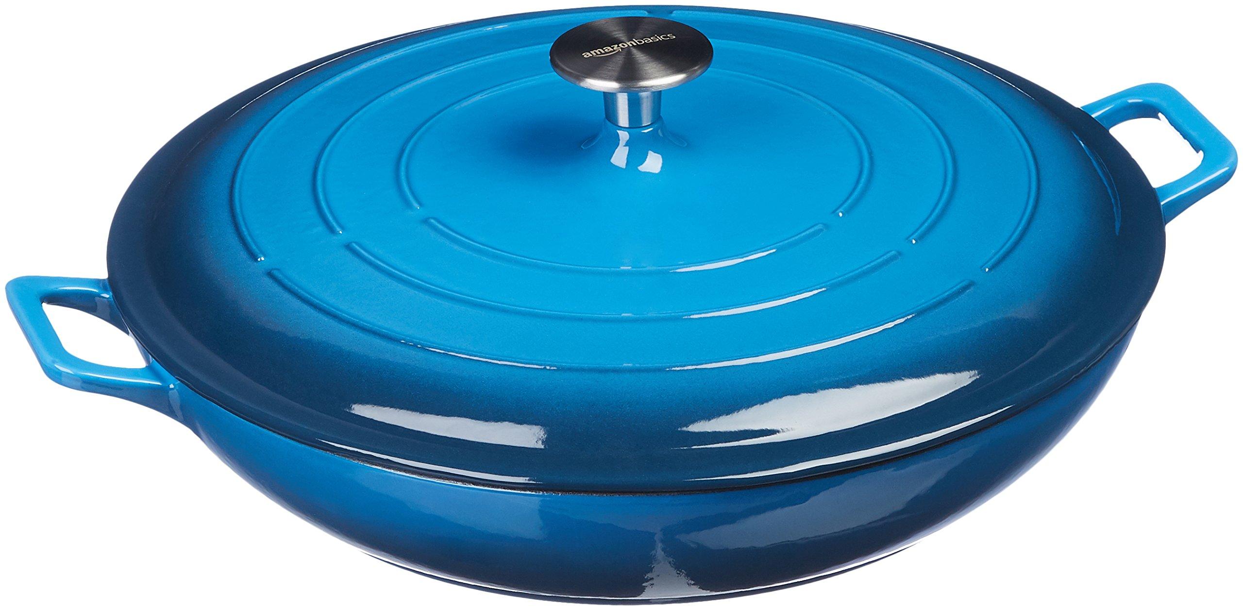 AmazonBasics Enameled Cast Iron Covered Casserole Skillet, 3.3-Quart, Blue