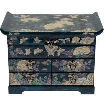 February Mountain Mother of Pearl Wooden Jewelry Organizer Box – Jewelry Storage Box for Women, Features Spacious Drawers, Ideal for Rings, Bracelets, Watches, Chains, Accessories