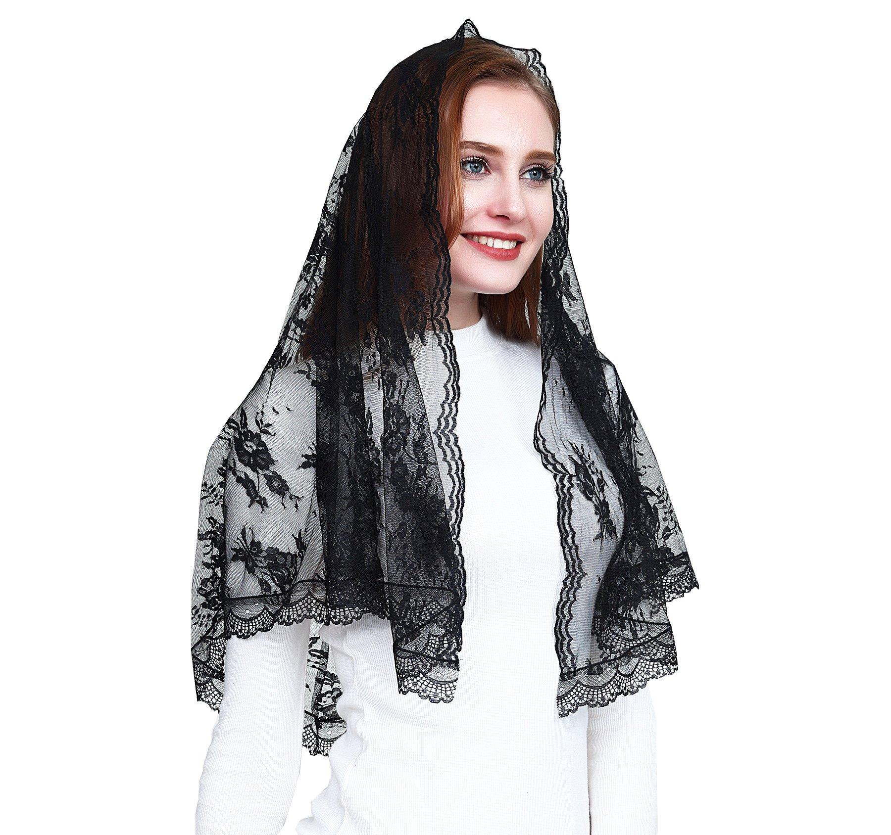 Catholic chapel veil infinity scarf mantilla floral lace veil v42