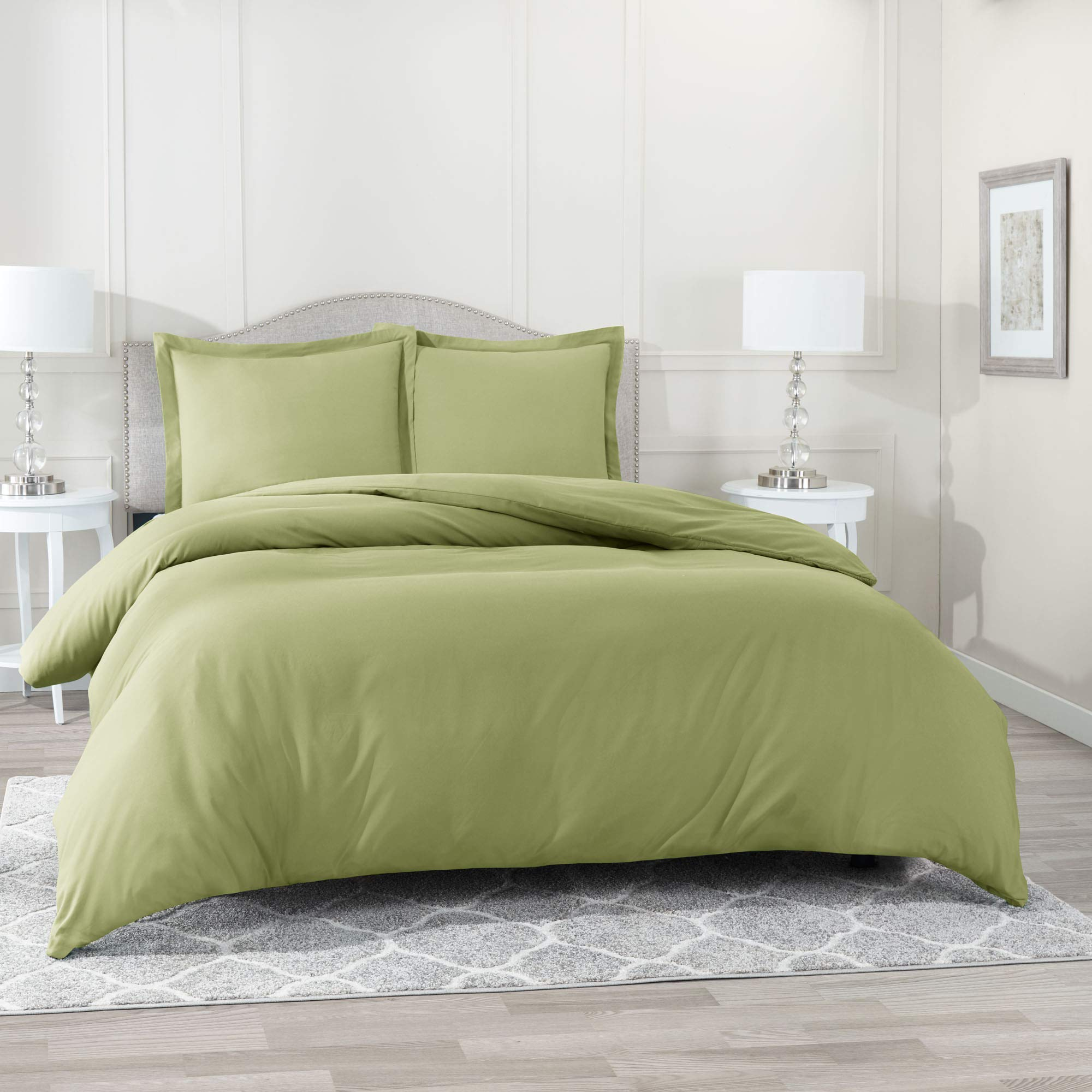 Nestl Bedding Duvet Cover with Fitted Sheet 4 Piece Set - Soft Double Brushed Microfiber Hotel Collection - Comforter Cover with Button Closure, Fitted Sheet, 2 Pillow Shams, King - Sage