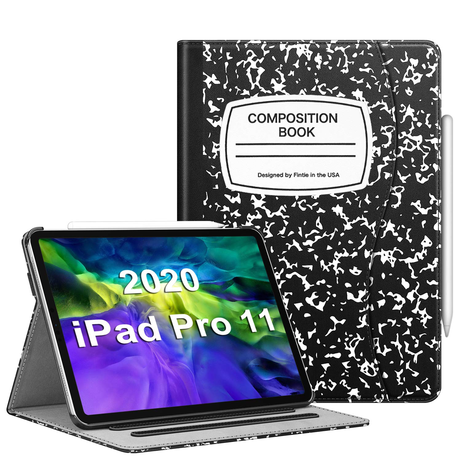 """CaseBot Case for iPad Pro 11"""" 2020/2018 with Pencil Holder, Multi-Angle Viewing Folio Smart Stand Cover with Pocket [Supports Pencil 2nd Gen Charging], Auto Sleep/Wake, Composition Book"""