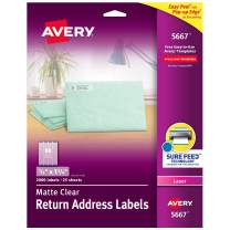 """Avery Matte Frosted Clear Return Address Labels for Laser Printers, 1/2"""" x 1-3/4"""", 2,000 Labels (5667)"""