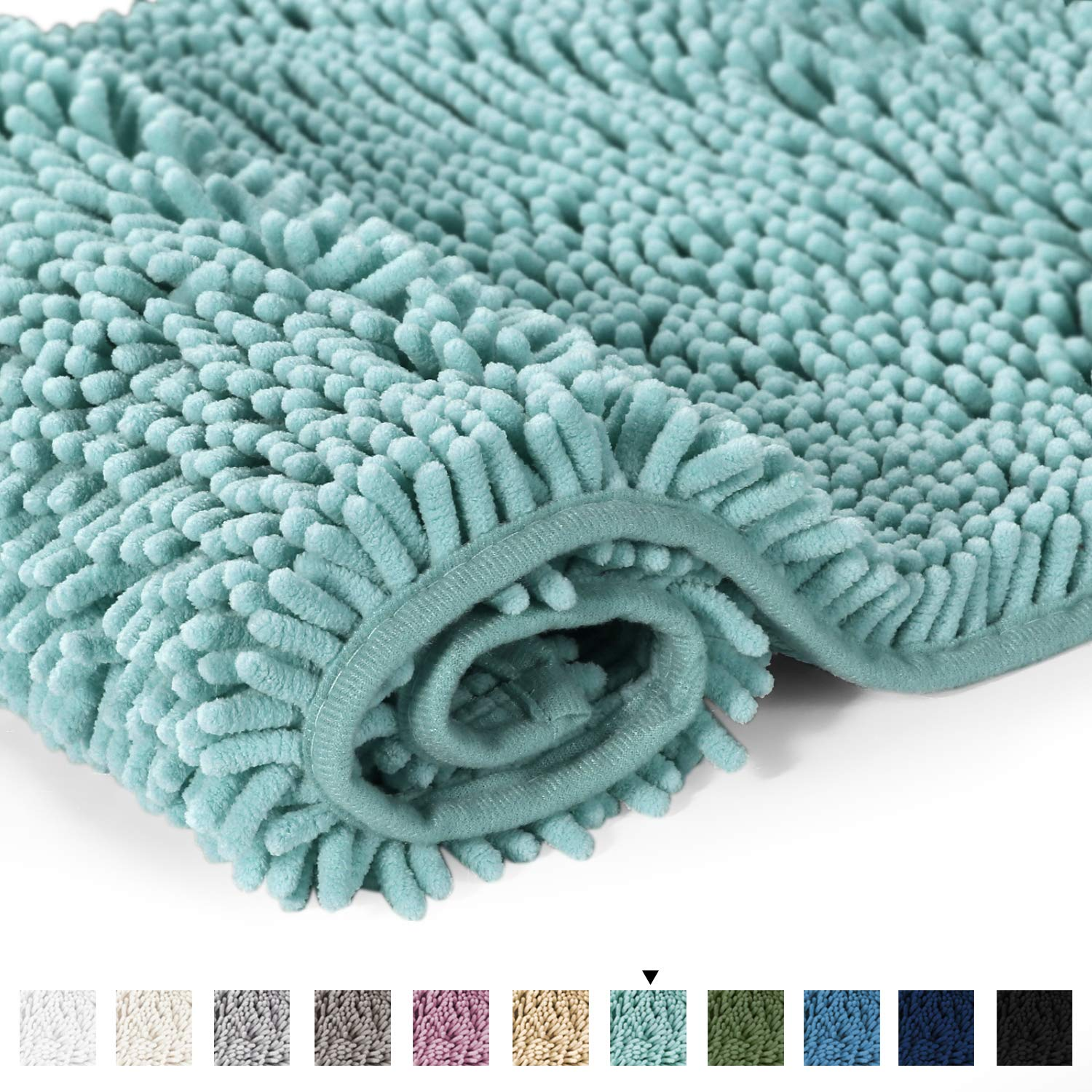 "Bathroom Rug Shag Shower Mat Machine-Washable Plush Bath Mats with Water Absorbent Soft Microfibers, 20"" W x 32"" L, Eggshell Blue"