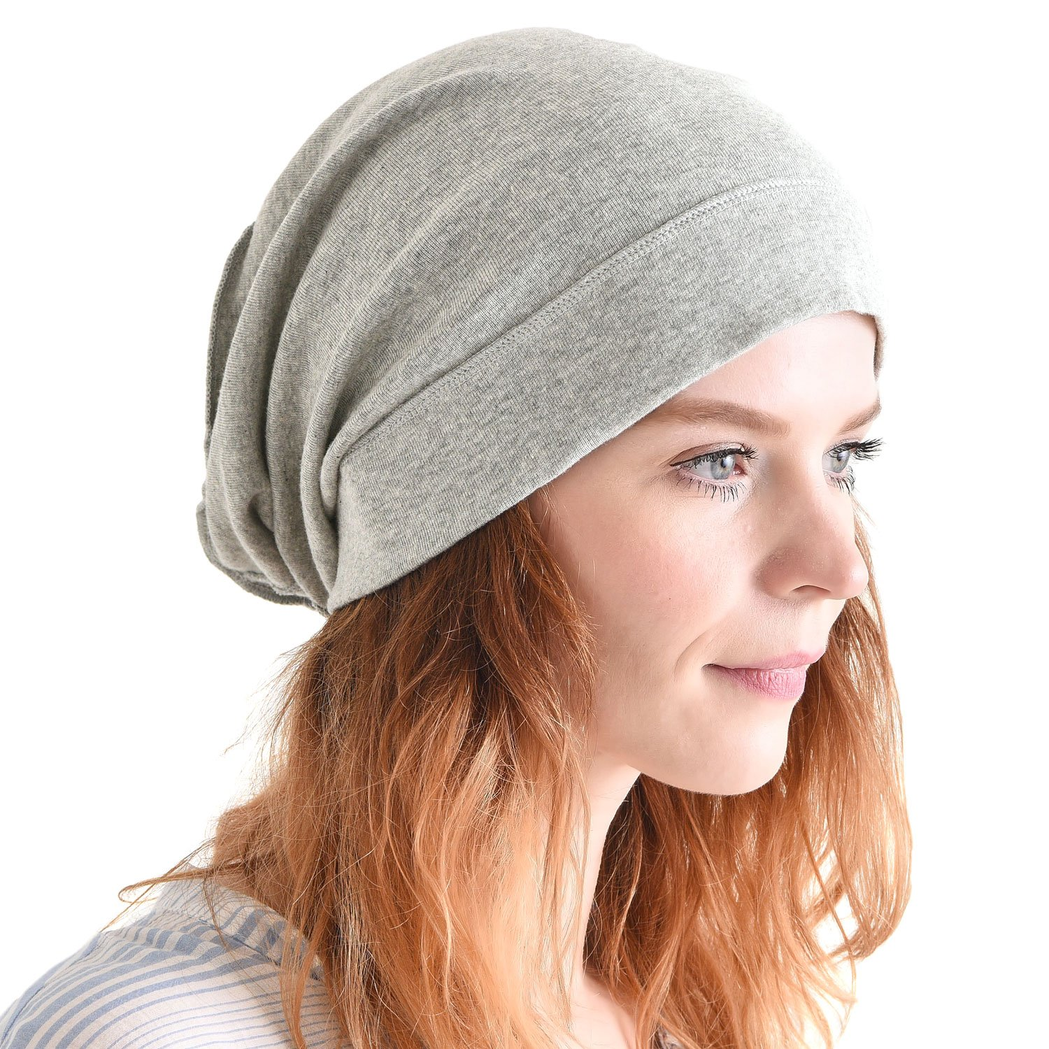 CHARM Mens Slouch Beanie Hat - Womens Organic Cotton Hipster Chemo Knit Casualbox